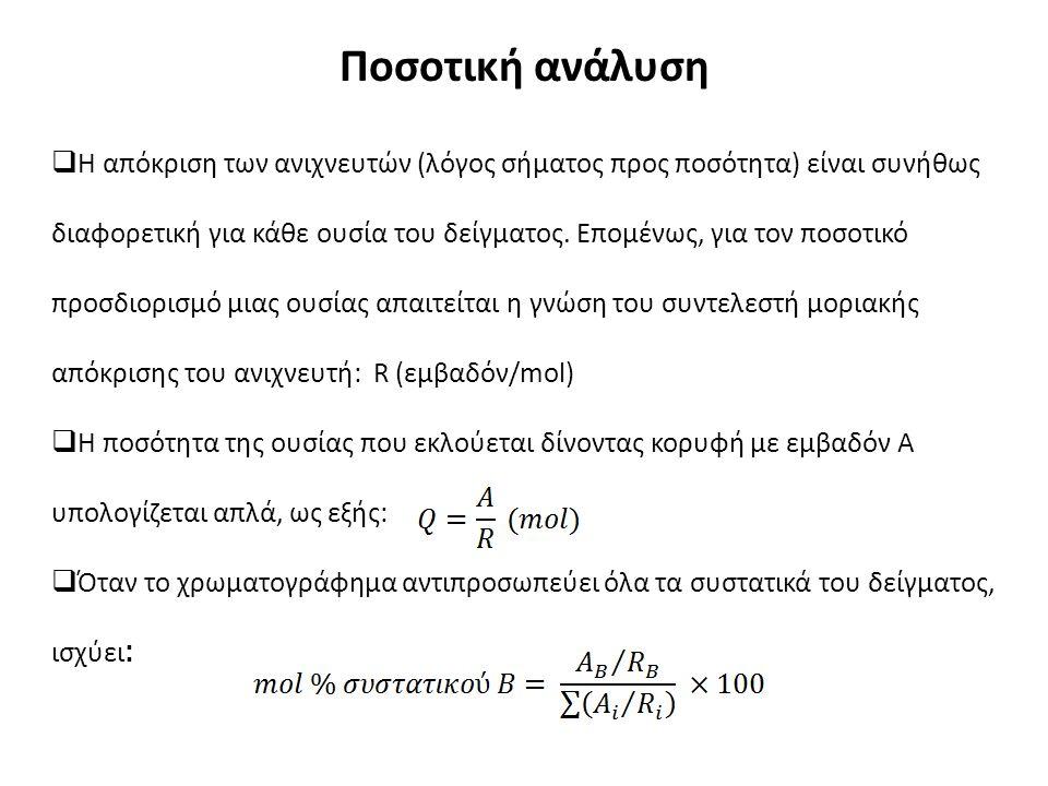 Ποσοτική ανάλυση  Η απόκριση των ανιχνευτών (λόγος σήματος προς ποσότητα) είναι συνήθως διαφορετική για κάθε ουσία του δείγματος.