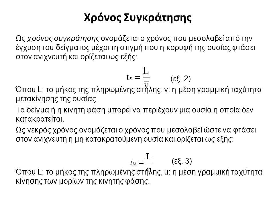 Χρόνος Συγκράτησης Ως χρόνος συγκράτησης ονομάζεται ο χρόνος που μεσολαβεί από την έγχυση του δείγματος μέχρι τη στιγμή που η κορυφή της ουσίας φτάσει στον ανιχνευτή και ορίζεται ως εξής: (εξ.