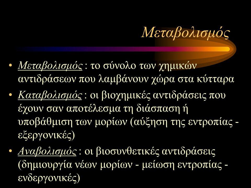 Μεταβολισμός Μεταβολισμός : το σύνολο των χημικών αντιδράσεων που λαμβάνουν χώρα στα κύτταρα Καταβολισμός : οι βιοχημικές αντιδράσεις που έχουν σαν αποτέλεσμα τη διάσπαση ή υποβάθμιση των μορίων (αύξηση της εντροπίας - εξεργονικές) Αναβολισμός : οι βιοσυνθετικές αντιδράσεις (δημιουργία νέων μορίων - μείωση εντροπίας - ενδεργονικές)