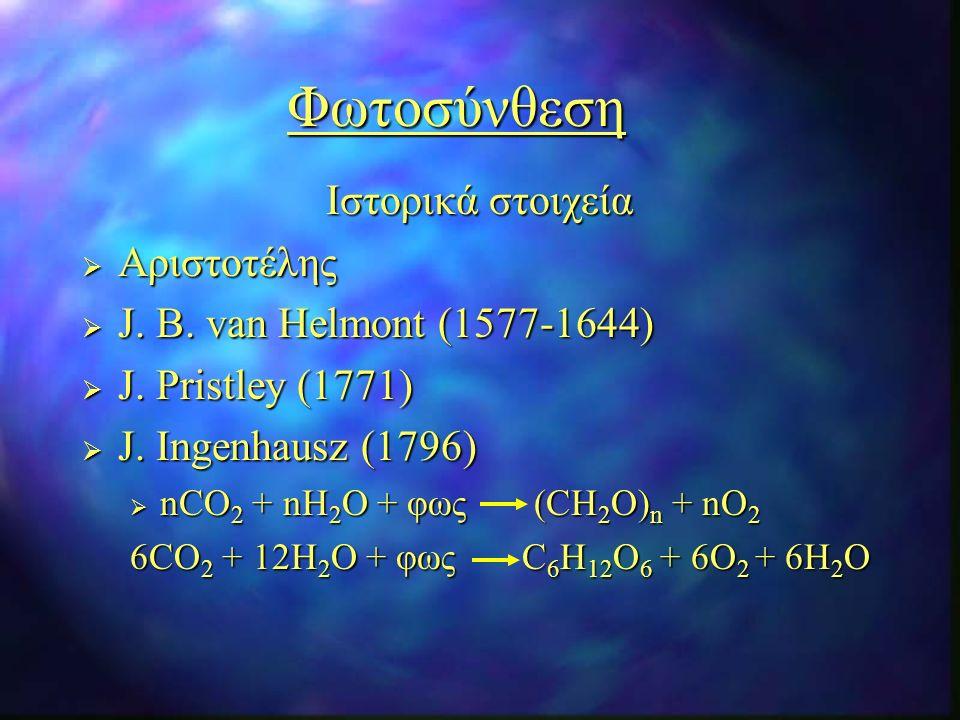 Φωτοσύνθεση Ιστορικά στοιχεία  Αριστοτέλης  J. B.
