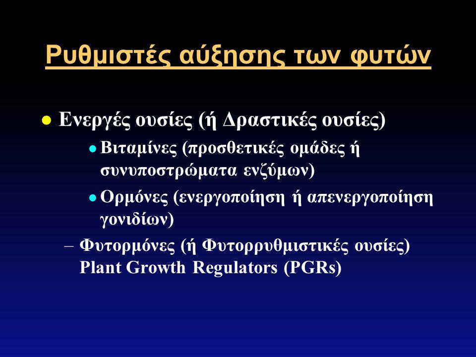 Ρυθμιστές αύξησης των φυτών l Ενεργές ουσίες (ή Δραστικές ουσίες) l Βιταμίνες (προσθετικές ομάδες ή συνυποστρώματα ενζύμων) l Ορμόνες (ενεργοποίηση ή απενεργοποίηση γονιδίων) –Φυτορμόνες (ή Φυτορρυθμιστικές ουσίες) Plant Growth Regulators (PGRs)