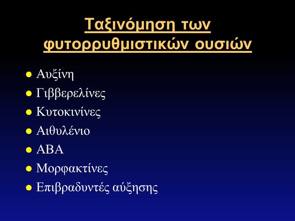 Ταξινόμηση των φυτορρυθμιστικών ουσιών l Αυξίνη l Γιββερελίνες l Κυτοκινίνες l Αιθυλένιο l ΑΒΑ l Μορφακτίνες l Επιβραδυντές αύξησης