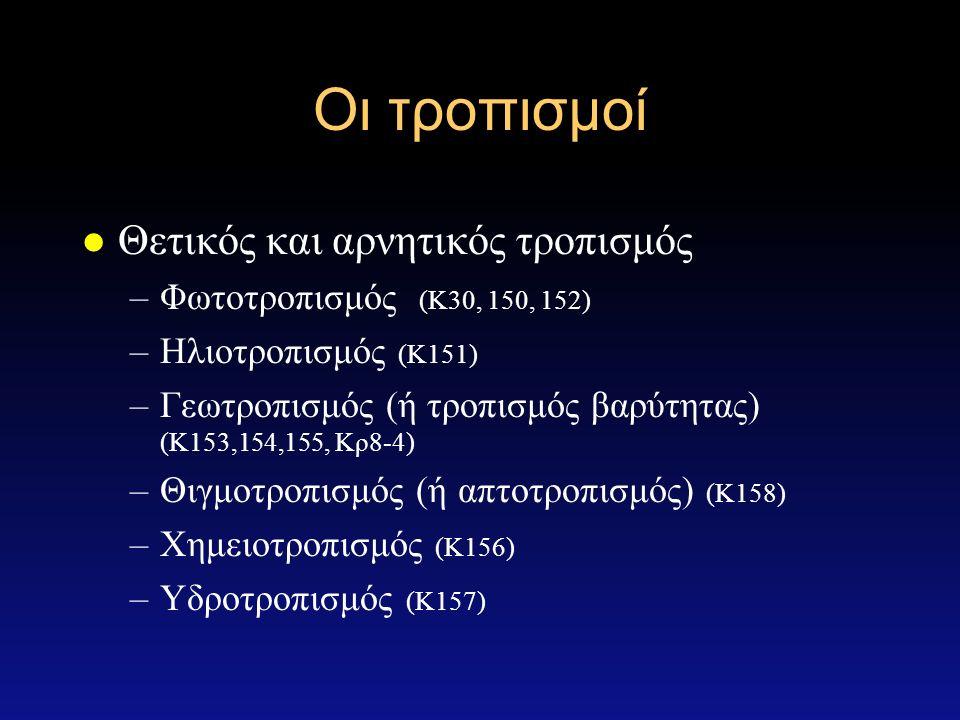 Οι τροπισμοί l Θετικός και αρνητικός τροπισμός –Φωτοτροπισμός (Κ30, 150, 152) –Ηλιοτροπισμός (Κ151) –Γεωτροπισμός (ή τροπισμός βαρύτητας) (Κ153,154,155, Κρ8-4) –Θιγμοτροπισμός (ή απτοτροπισμός) (Κ158) –Χημειοτροπισμός (Κ156) –Υδροτροπισμός (Κ157)