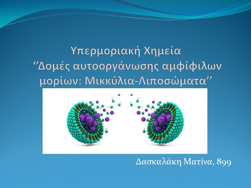 1.Γενικά 1.1 Αμφίφιλα μόρια 1.2 Αυτοοργάνωση 2.