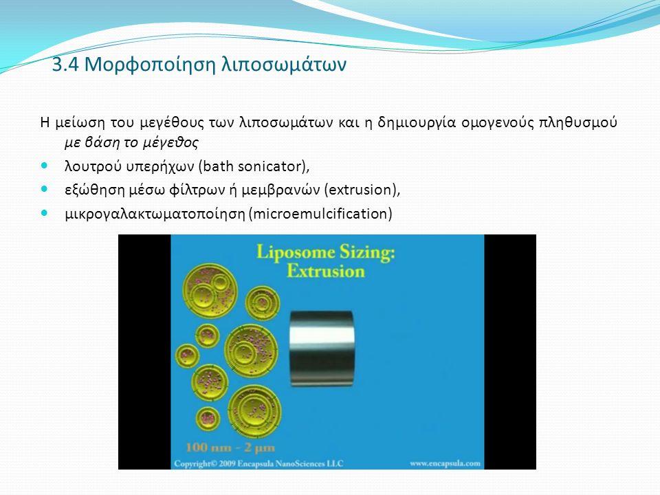 3.4 Μορφοποίηση λιποσωμάτων Η μείωση του μεγέθους των λιποσωμάτων και η δημιουργία ομογενούς πληθυσμού με βάση το μέγεθος λουτρού υπερήχων (bath sonicator), εξώθηση μέσω φίλτρων ή μεμβρανών (extrusion), μικρoγαλακτωματοποίηση (microemulcification)