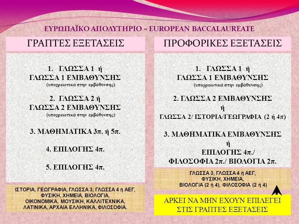 ΓΡΑΠΤΕΣ ΕΞΕΤΑΣΕΙΣ ΕΥΡΩΠΑΪΚΟ ΑΠΟΛΥΤΗΡΙΟ – EUROPEAN BACCALAUREATE 1.ΓΛΩΣΣΑ 1 ή ΓΛΩΣΣΑ 1 ΕΜΒΑΘΥΝΣΗΣ (υποχρεωτικά στην εμβάθυνσης ) 2. ΓΛΩΣΣΑ 2 ή ΓΛΩΣΣΑ 2