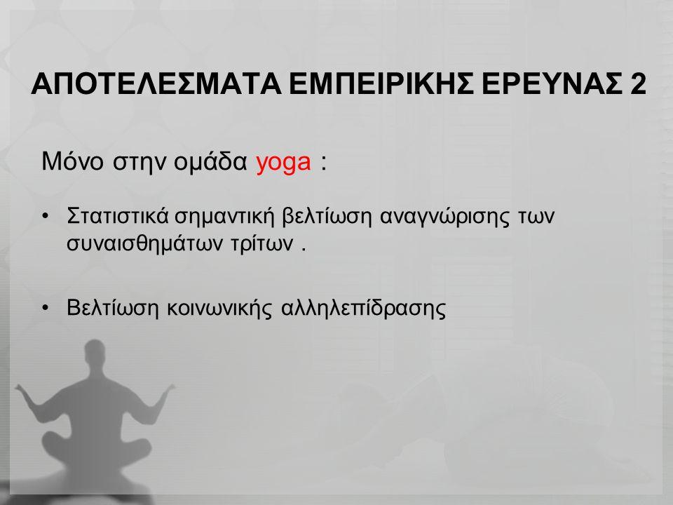 ΑΠΟΤΕΛΕΣΜΑΤΑ ΕΜΠΕΙΡΙΚΗΣ ΕΡΕΥΝΑΣ 2 Μόνο στην ομάδα yoga : Στατιστικά σημαντική βελτίωση αναγνώρισης των συναισθημάτων τρίτων. Βελτίωση κοινωνικής αλληλ