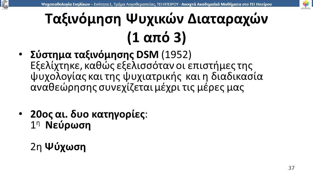 3737 Ψυχοπαθολογία Ενηλίκων – Ενότητα 1, Τμήμα Λογοθεραπείας, ΤΕΙ ΗΠΕΙΡΟΥ - Ανοιχτά Ακαδημαϊκά Μαθήματα στο ΤΕΙ Ηπείρου Ταξινόμηση Ψυχικών Διαταραχών (1 από 3) Σύστημα ταξινόμησης DSM (1952) Εξελίχτηκε, καθώς εξελισσόταν οι επιστήμες της ψυχολογίας και της ψυχιατρικής και η διαδικασία αναθεώρησης συνεχίζεται μέχρι τις μέρες μας 20ος αι.