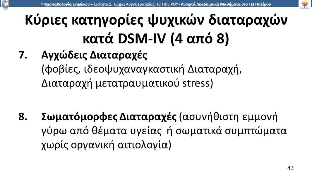 4343 Ψυχοπαθολογία Ενηλίκων – Ενότητα 1, Τμήμα Λογοθεραπείας, ΤΕΙ ΗΠΕΙΡΟΥ - Ανοιχτά Ακαδημαϊκά Μαθήματα στο ΤΕΙ Ηπείρου Κύριες κατηγορίες ψυχικών διαταραχών κατά DSM-IV (4 από 8) 7.Αγχώδεις Διαταραχές (φοβίες, ιδεοψυχαναγκαστική Διαταραχή, Διαταραχή μετατραυματικού stress) 8.Σωματόμορφες Διαταραχές (ασυνήθιστη εμμονή γύρω από θέματα υγείας ή σωματικά συμπτώματα χωρίς οργανική αιτιολογία) 43