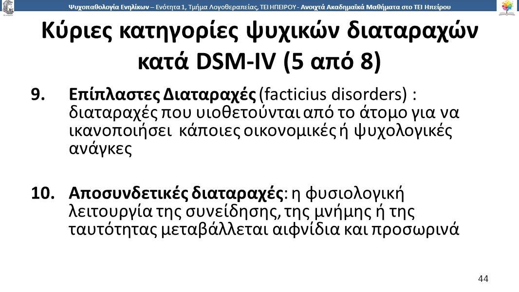 4 Ψυχοπαθολογία Ενηλίκων – Ενότητα 1, Τμήμα Λογοθεραπείας, ΤΕΙ ΗΠΕΙΡΟΥ - Ανοιχτά Ακαδημαϊκά Μαθήματα στο ΤΕΙ Ηπείρου Κύριες κατηγορίες ψυχικών διαταραχών κατά DSM-IV (5 από 8) 9.Επίπλαστες Διαταραχές (facticius disorders) : διαταραχές που υιοθετούνται από το άτομο για να ικανοποιήσει κάποιες οικονομικές ή ψυχολογικές ανάγκες 10.Αποσυνδετικές διαταραχές: η φυσιολογική λειτουργία της συνείδησης, της μνήμης ή της ταυτότητας μεταβάλλεται αιφνίδια και προσωρινά 44