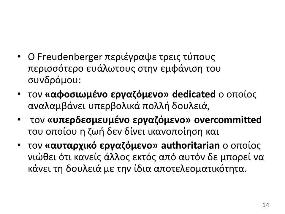 Ο Freudenberger περιέγραψε τρεις τύπους περισσότερο ευάλωτους στην εμφάνιση του συνδρόμου: τον «αφοσιωμένο εργαζόμενο» dedicated ο οποίος αναλαμβάνει υπερβολικά πολλή δουλειά, τον «υπερδεσμευμένο εργαζόμενο» overcommitted του οποίου η ζωή δεν δίνει ικανοποίηση και τον «αυταρχικό εργαζόμενο» authoritarian ο οποίος νιώθει ότι κανείς άλλος εκτός από αυτόν δε μπορεί να κάνει τη δουλειά με την ίδια αποτελεσματικότητα.