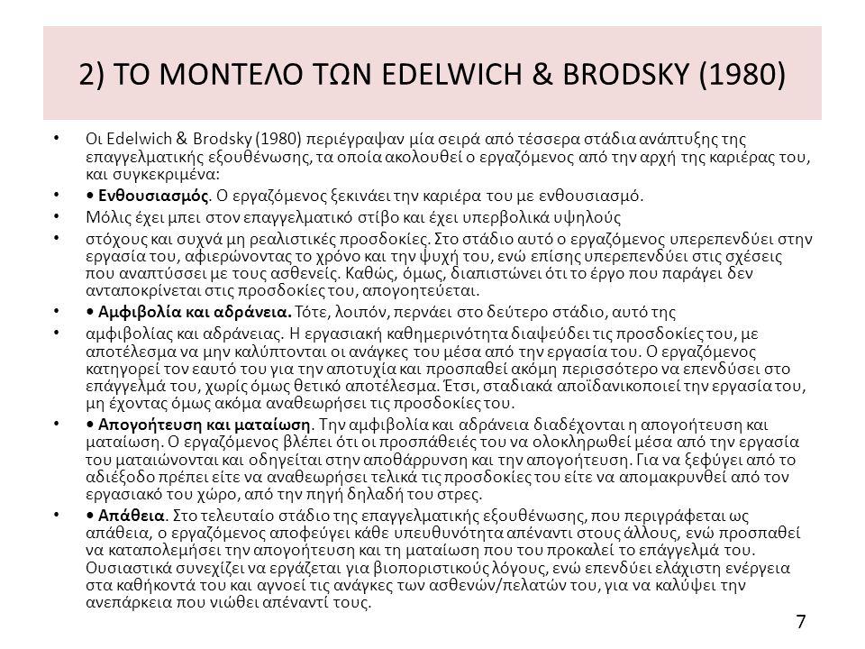 2) ΤΟ ΜΟΝΤΕΛΟ ΤΩΝ EDELWICH & BRODSKY (1980) Οι Edelwich & Brodsky (1980) περιέγραψαν μία σειρά από τέσσερα στάδια ανάπτυξης της επαγγελματικής εξουθένωσης, τα οποία ακολουθεί ο εργαζόμενος από την αρχή της καριέρας του, και συγκεκριμένα: Ενθουσιασμός.