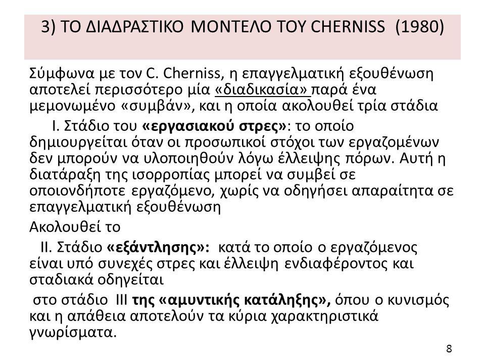 3) ΤΟ ΔΙΑΔΡΑΣΤΙΚΟ ΜΟΝΤΕΛΟ ΤΟΥ CHERNISS (1980) Σύμφωνα με τον C.