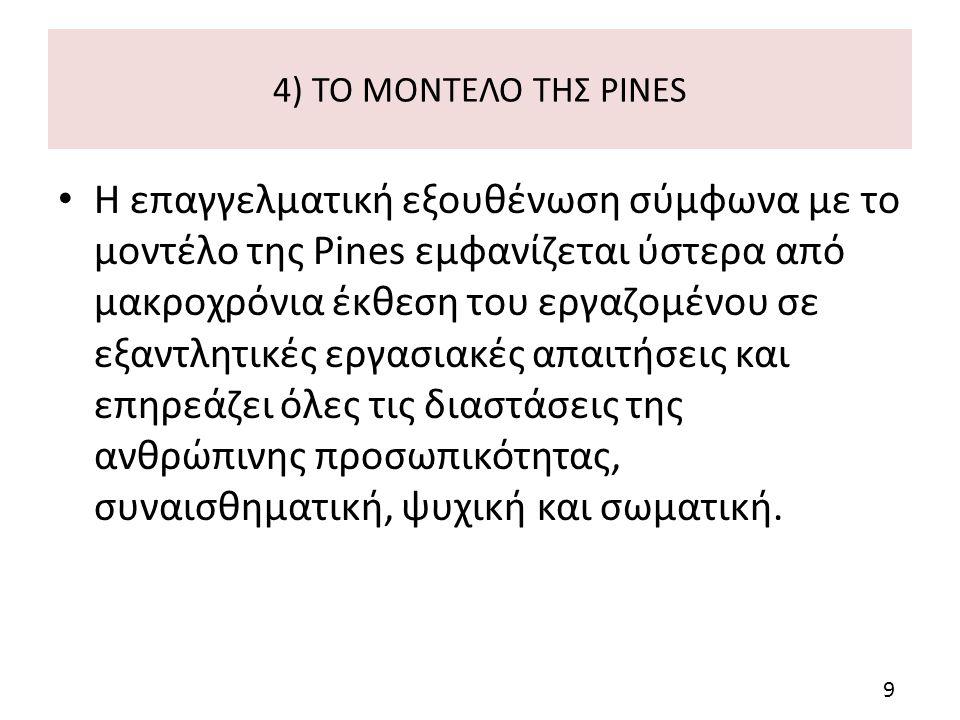 4) ΤΟ ΜΟΝΤΕΛΟ ΤΗΣ PINES Η επαγγελματική εξουθένωση σύμφωνα με το μοντέλο της Pines εμφανίζεται ύστερα από μακροχρόνια έκθεση του εργαζομένου σε εξαντλητικές εργασιακές απαιτήσεις και επηρεάζει όλες τις διαστάσεις της ανθρώπινης προσωπικότητας, συναισθηματική, ψυχική και σωματική.