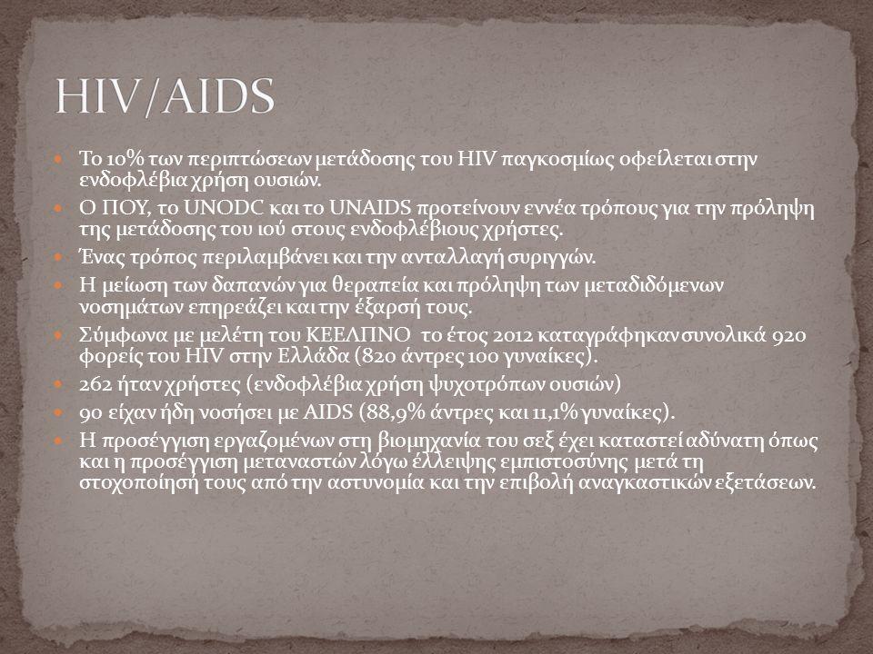 Το 10% των περιπτώσεων μετάδοσης του HIV παγκοσμίως οφείλεται στην ενδοφλέβια χρήση ουσιών. Ο ΠΟΥ, το UNODC και το UNAIDS προτείνουν εννέα τρόπους για
