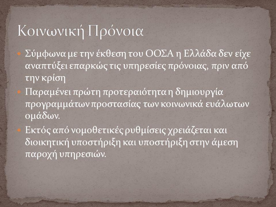 Σύμφωνα με την έκθεση του ΟΟΣΑ η Ελλάδα δεν είχε αναπτύξει επαρκώς τις υπηρεσίες πρόνοιας, πριν από την κρίση Παραμένει πρώτη προτεραιότητα η δημιουργ