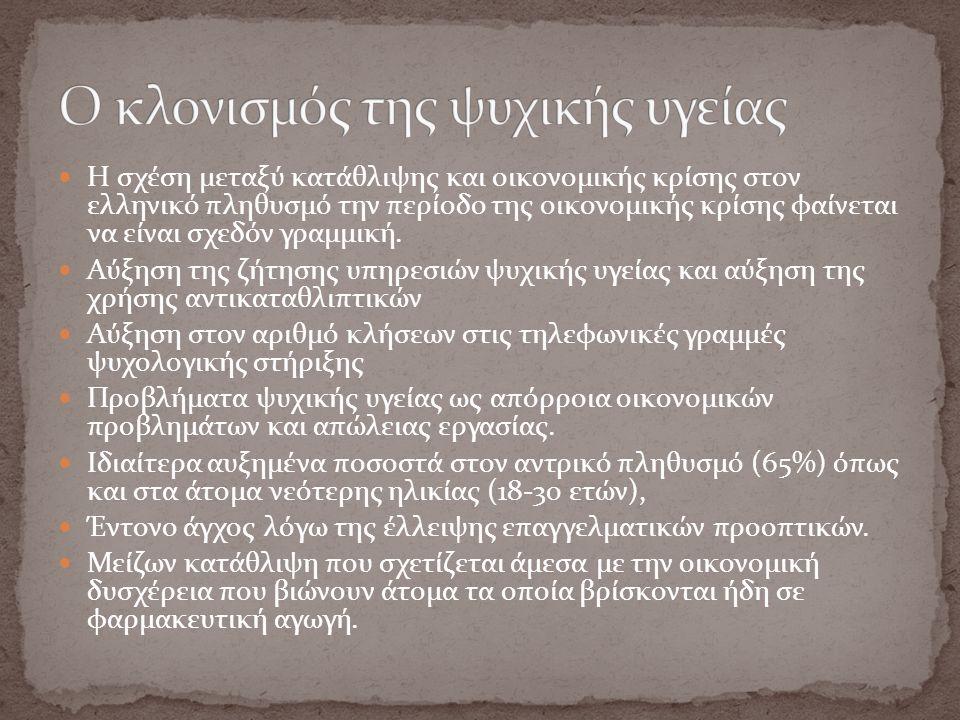 Η σχέση μεταξύ κατάθλιψης και οικονομικής κρίσης στον ελληνικό πληθυσμό την περίοδο της οικονομικής κρίσης φαίνεται να είναι σχεδόν γραμμική. Αύξηση τ