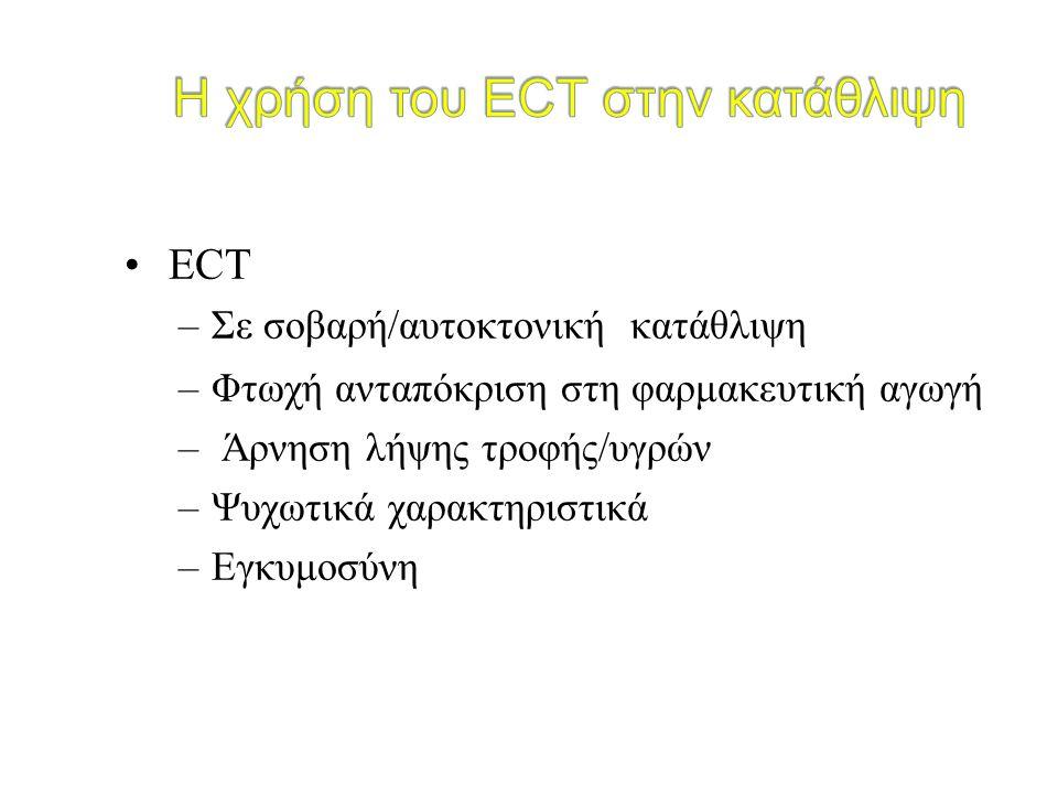 ECT –Σε σοβαρή/αυτοκτονική κατάθλιψη –Φτωχή ανταπόκριση στη φαρμακευτική αγωγή – Άρνηση λήψης τροφής/υγρών –Ψυχωτικά χαρακτηριστικά –Εγκυμοσύνη