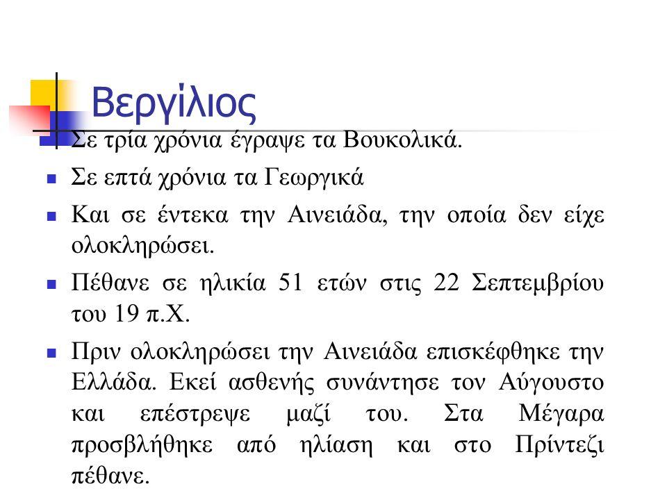 Βεργίλιος Σε τρία χρόνια έγραψε τα Βουκολικά.