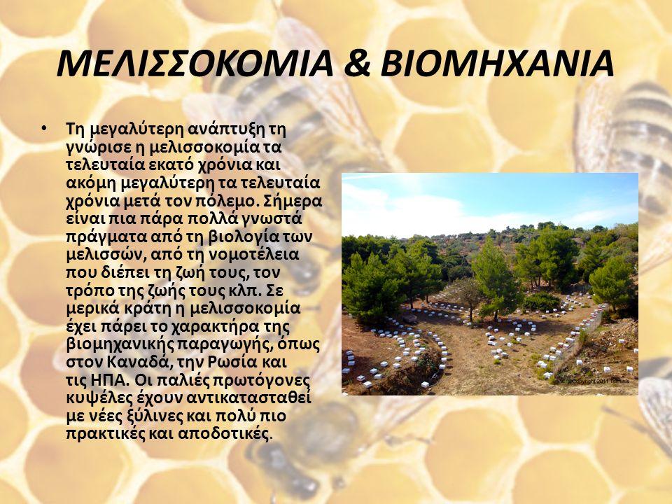 ΜΕΛΙΣΣΟΚΟΜΙΑ & ΒΙΟΜΗΧΑΝΙΑ Τη μεγαλύτερη ανάπτυξη τη γνώρισε η μελισσοκομία τα τελευταία εκατό χρόνια και ακόμη μεγαλύτερη τα τελευταία χρόνια μετά τον πόλεμο.