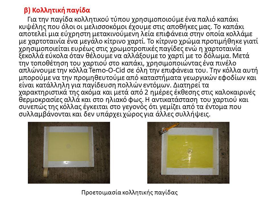β) Κολλητική παγίδα Για την παγίδα κολλητικού τύπου χρησιμοποιούμε ένα παλιό καπάκι κυψέλης που όλοι οι μελισσοκόμοι έχουμε στις αποθήκες μας.