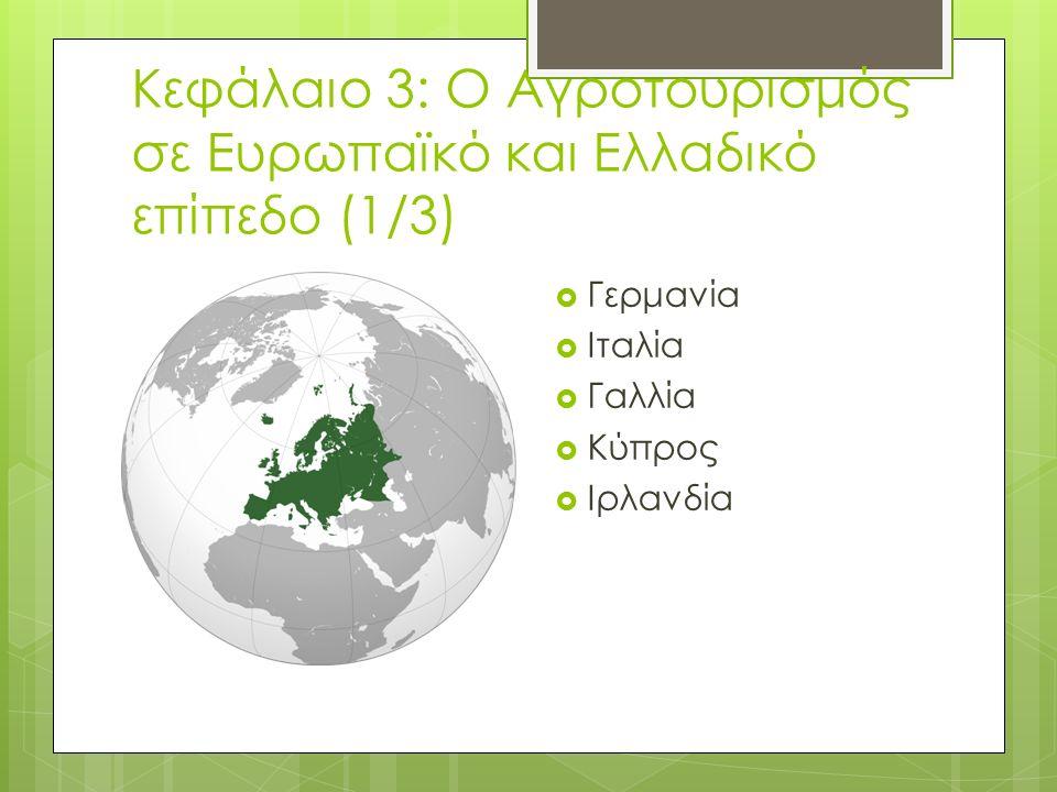 Κεφάλαιο 3: Ο Αγροτουρισμός σε Ευρωπαϊκό και Ελλαδικό επίπεδο (1/3)  Γερμανία  Ιταλία  Γαλλία  Κύπρος  Ιρλανδία