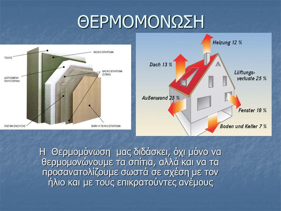 ΘΕΡΜΟΜΟΝΩΣΗ Η Θερμομόνωση μας διδάσκει, όχι μόνο να θερμομονώνουμε τα σπίτια, αλλά και να τα προσανατολίζουμε σωστά σε σχέση με τον ήλιο και με τους επικρατούντες ανέμους