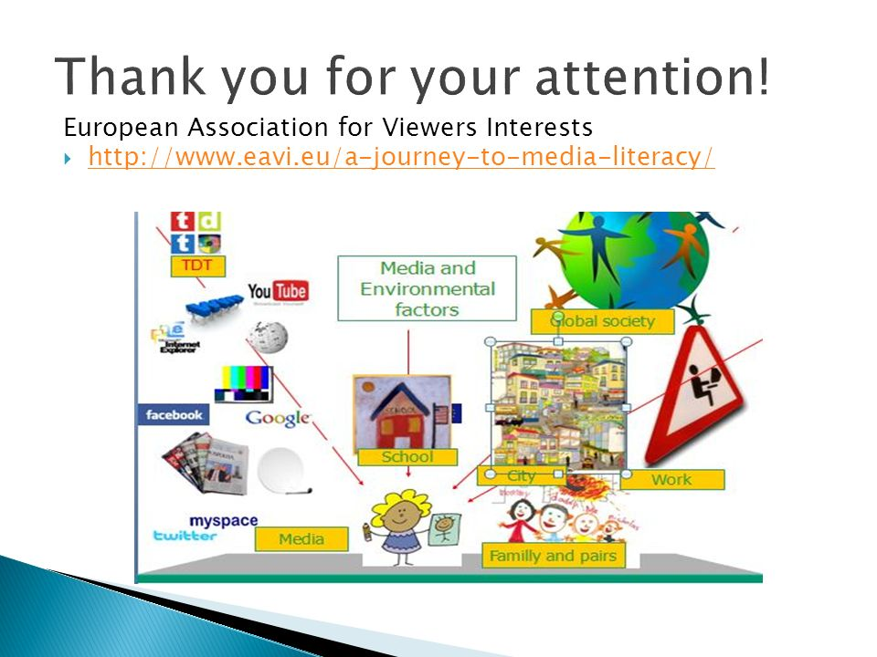 European Association for Viewers Interests  http://www.eavi.eu/a-journey-to-media-literacy/ http://www.eavi.eu/a-journey-to-media-literacy/