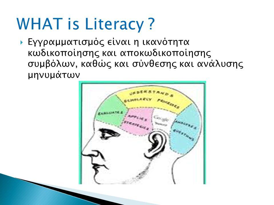  Εγραμματισμός στα Μέσα είναι η μιντιακή ικανότητα που περιλαμβάνει: α) την πρόσβαση στα Μέσα επικοινωνίας (τεχνικές δεξιότητες) β) την κατανόηση, ανάλυση και κριτική αξιολόγηση των μηνυμάτων των Μέσων και των περιεχομένων τους (γνωστικές δεξιότητες) γ) τη δυνατότητα προσωπικής έκφρασης και δημιουργίας (επικοινωνίας, παραγωγή περιεχομένου) σε διαφορετικά περιεχόμενα (επικοινωνιακές, κοινωνικές δεξιότητες).