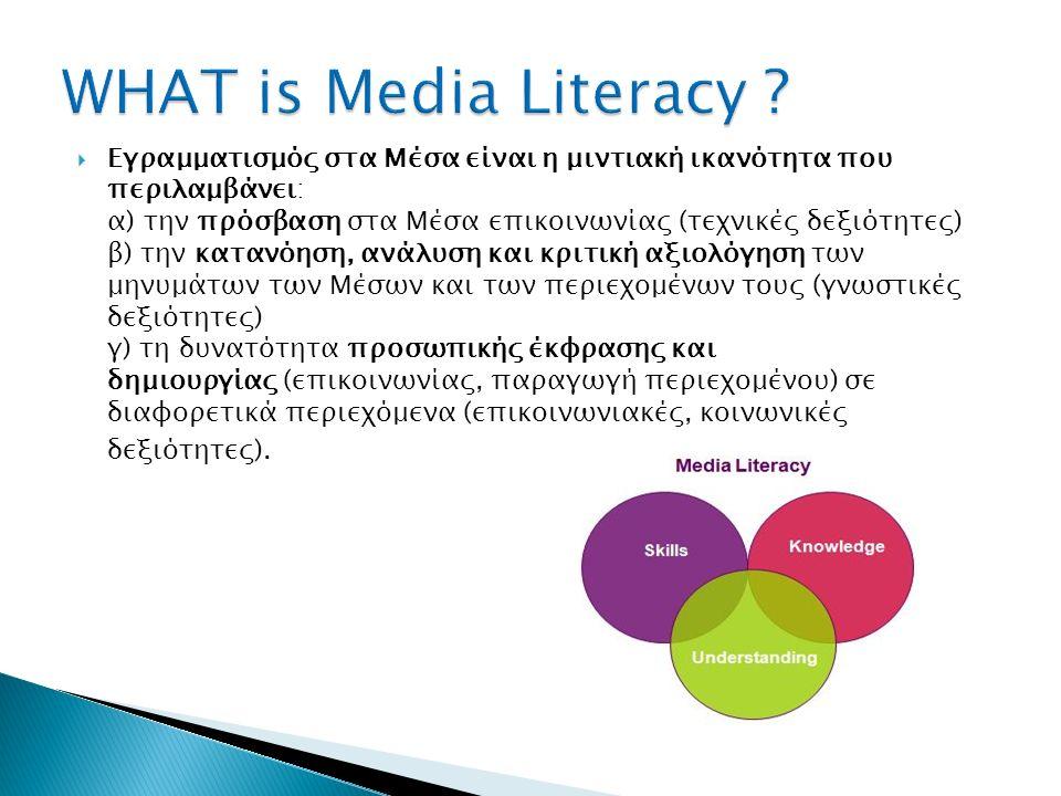 Βιβλιογραφική Επισκόπηση του όρου : Media Literacy 31/10/2015 Media literacy: ◦ Skills (Steyaert, 2000; Van Dijk, 2005; Van Deursen, 2010) ◦ Media literacy does not attach itself to a simple technical skill … (EAVI, 2009, p.22): ◦ Knowledge (Silverblatt, 1995; Messaris, 1998; Potter, 2004) ◦ Attitudes (Tondeur et.
