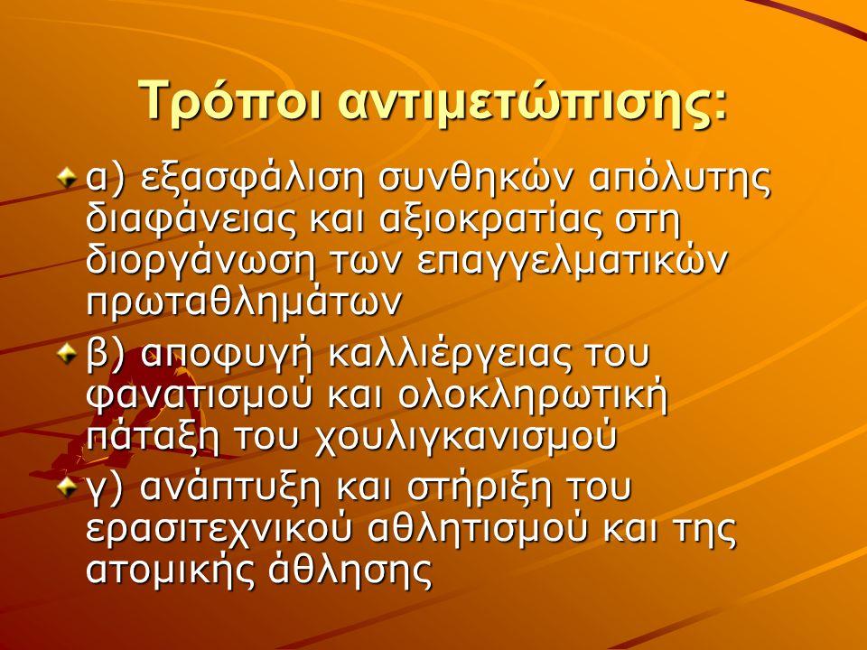 Τρόποι αντιμετώπισης: α) εξασφάλιση συνθηκών απόλυτης διαφάνειας και αξιοκρατίας στη διοργάνωση των επαγγελματικών πρωταθλημάτων β) αποφυγή καλλιέργει