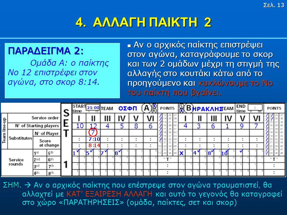 Σελ. 12 4. ΑΛΛΑΓΗ ΠΑΙΚΤΗ 1 ΗΡΑΚΛΗΣ ΟΣΦΠ 21 00 x x 10 124586 4 36197 x ////////////// 1 Γράφουμε το νούμερο του αναπληρω- ματικού παίκτη στο κουτάκι κά