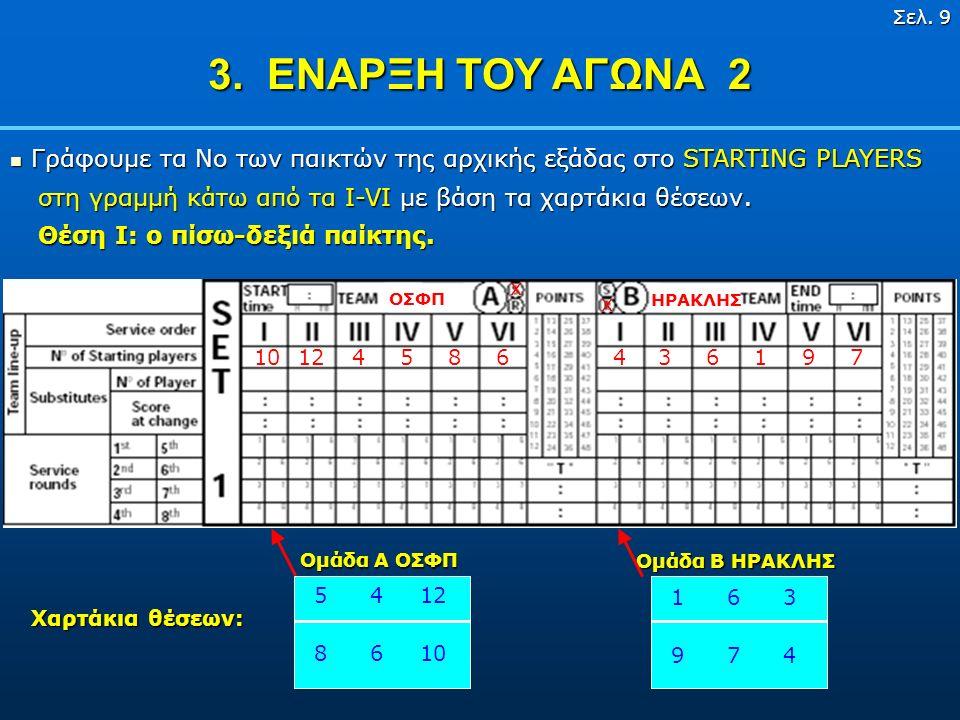 Σελ. 8 3. ΕΝΑΡΞΗ ΤΟΥ ΑΓΩΝΑ 1 ΟΣΦΠ Ομάδα ΟΣΦΠ βάλτε X στο Ομάδα που θα σερβίρειSA Ομάδα ΗΡΑΚΛΗΣ βάλτε X στο Ομάδα που θα υποδεχτεί R B ΣΥΜΒΟΥΛΗ ΣΥΜΒΟΥΛ
