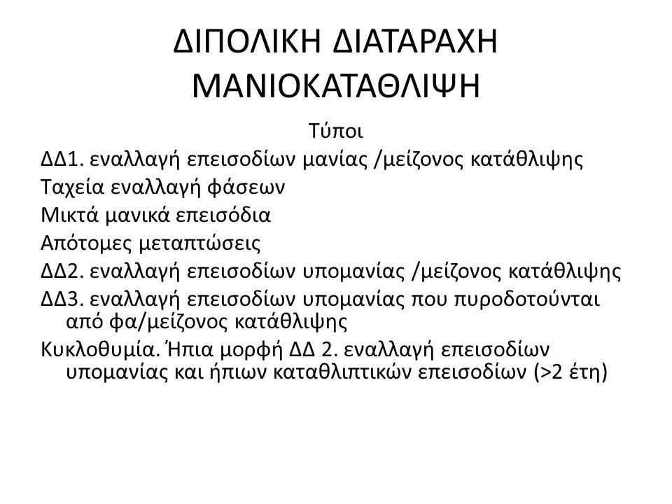 ΔΙΠΟΛΙΚΗ ΔΙΑΤΑΡΑΧΗ ΜΑΝΙΟΚΑΤΑΘΛΙΨΗ Τύποι ΔΔ1.