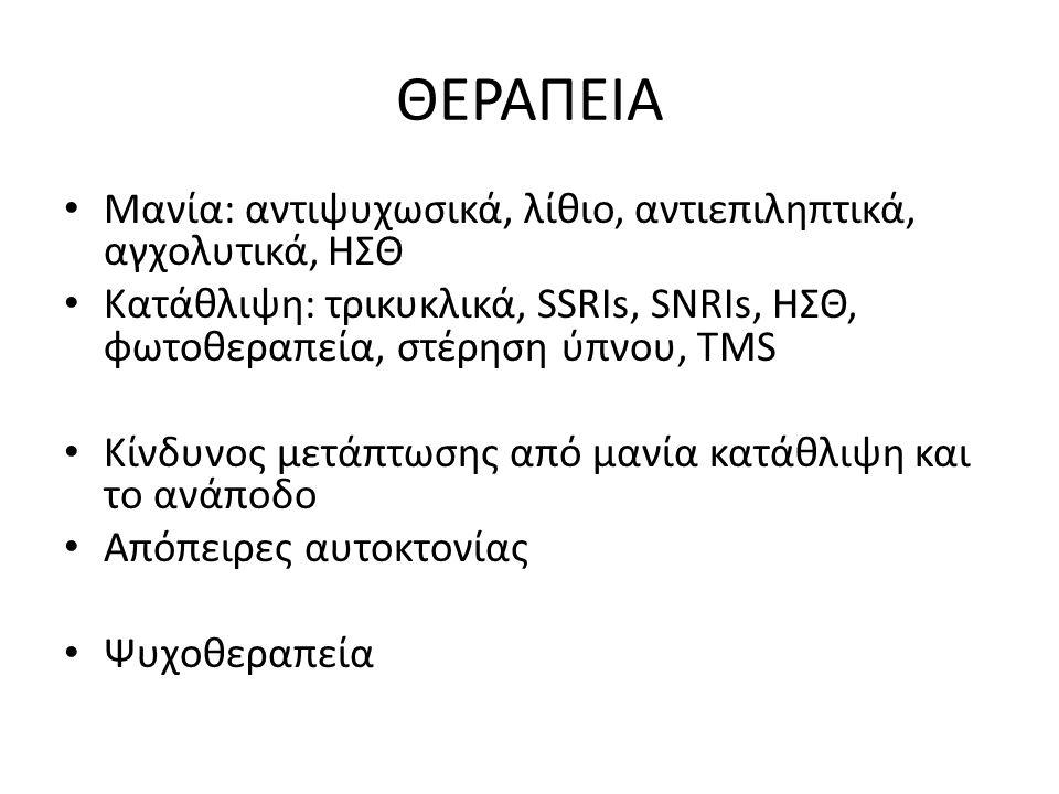 ΘΕΡΑΠΕΙΑ Μανία: αντιψυχωσικά, λίθιο, αντιεπιληπτικά, αγχολυτικά, ΗΣΘ Κατάθλιψη: τρικυκλικά, SSRIs, SNRIs, ΗΣΘ, φωτοθεραπεία, στέρηση ύπνου, TMS Κίνδυνος μετάπτωσης από μανία κατάθλιψη και το ανάποδο Απόπειρες αυτοκτονίας Ψυχοθεραπεία
