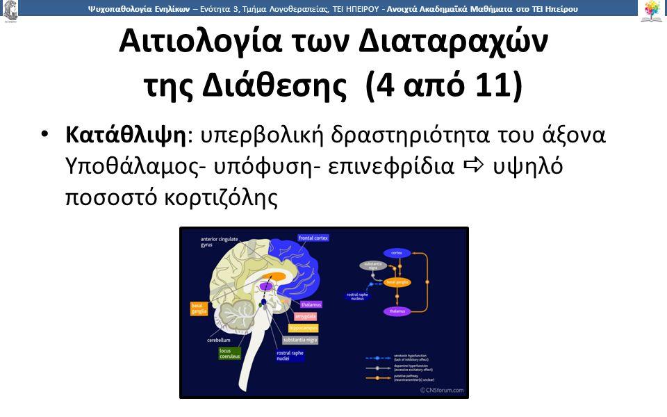 4343 Ψυχοπαθολογία Ενηλίκων – Ενότητα 3, Τμήμα Λογοθεραπείας, ΤΕΙ ΗΠΕΙΡΟΥ - Ανοιχτά Ακαδημαϊκά Μαθήματα στο ΤΕΙ Ηπείρου Αιτιολογία των Διαταραχών της Διάθεσης (4 από 11) Κατάθλιψη: υπερβολική δραστηριότητα του άξονα Υποθάλαμος- υπόφυση- επινεφρίδια  υψηλό ποσοστό κορτιζόλης