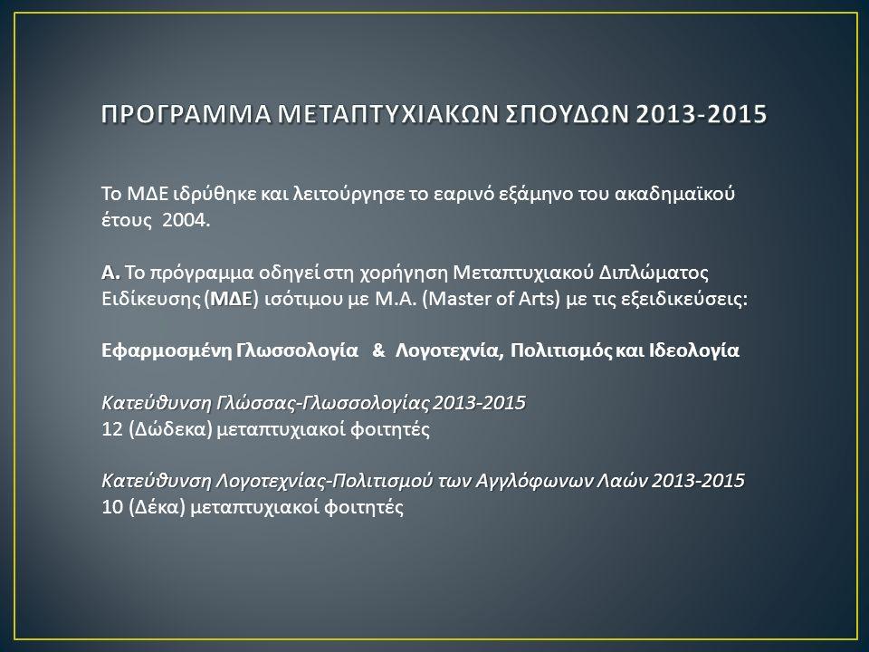 Το ΜΔΕ ιδρύθηκε και λειτούργησε το εαρινό εξάμηνο του ακαδημαϊκού έτους 2004. Α. ΜΔΕ Α. Το πρόγραμμα οδηγεί στη χορήγηση Μεταπτυχιακού Διπλώματος Ειδί
