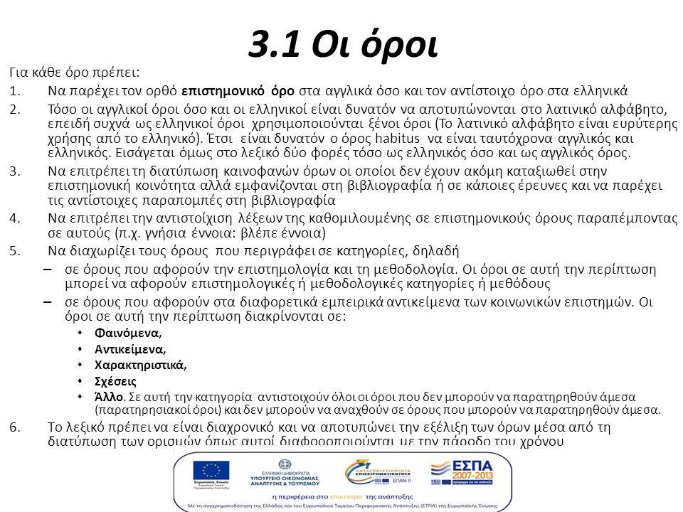 3.1 Οι όροι Για κάθε όρο πρέπει: 1.Να παρέχει τον ορθό επιστημονικό όρο στα αγγλικά όσο και τον αντίστοιχο όρο στα ελληνικά 2.Τόσο οι αγγλικοί όροι όσο και οι ελληνικοί είναι δυνατόν να αποτυπώνονται στο λατινικό αλφάβητο, επειδή συχνά ως ελληνικοί όροι χρησιμοποιούνται ξένοι όροι (Το λατινικό αλφάβητο είναι ευρύτερης χρήσης από το ελληνικό).