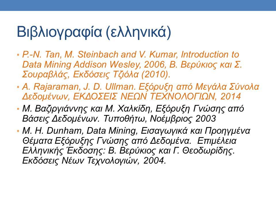 Βιβλιογραφία (ελληνικά) P.-N. Tan, M. Steinbach and V.