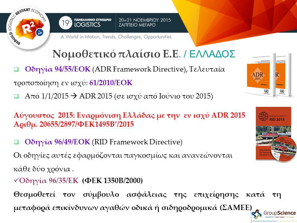 Νομοθετικό πλαίσιο Ε.Ε. / ΕΛΛΑΔΟΣ  Οδηγία 94/55/ΕΟΚ (ADR Framework Directive), Τελευταία τροποποίηση εν ισχύ: 61/2010/ΕΟΚ  Από 1/1/2015  ADR 2015 (