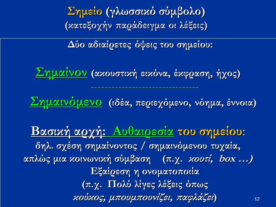 12 Σημείο (γλωσσικό σύμβολο) (κατεξοχήν παράδειγμα οι λέξεις) Δύο αδιαίρετες όψεις του σημείου: Δύο αδιαίρετες όψεις του σημείου: Σημαίνον (ακουστική εικόνα, έκφραση, ήχος) -------------------------------- -------------------------------- Σημαινόμενο (ιδέα, περιεχόμενο, νόημα, έννοια) Σημαινόμενο (ιδέα, περιεχόμενο, νόημα, έννοια) Bασική αρχή: Αυθαιρεσία του σημείου: δηλ.