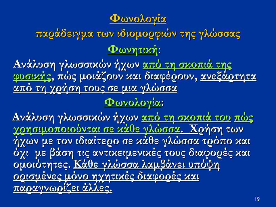 19 Φωνολογία παράδειγμα των ιδιομορφιών της γλώσσας Φωνητική: Ανάλυση γλωσσικών ήχων από τη σκοπιά της φυσικής, πώς μοιάζουν και διαφέρουν, ανεξάρτητα από τη χρήση τους σε μια γλώσσα Φωνολογία: Ανάλυση γλωσσικών ήχων από τη σκοπιά του πώς χρησιμοποιούνται σε κάθε γλώσσα.