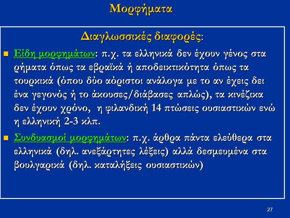 27 Μορφήματα Διαγλωσσικές διαφορές: Είδη μορφημάτων: π.χ.
