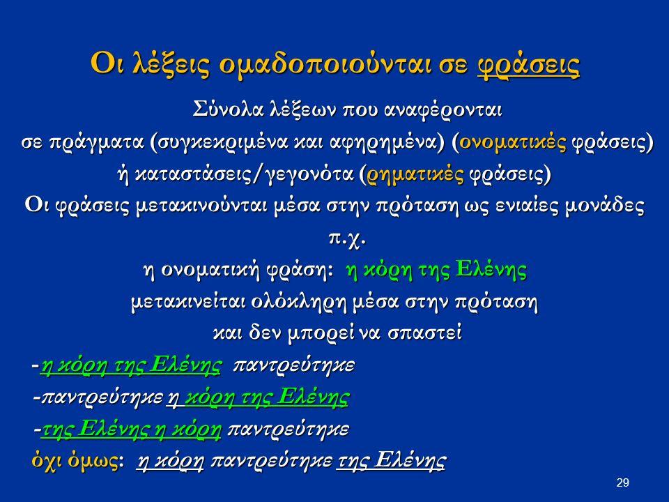 29 Οι λέξεις ομαδοποιούνται σε φράσεις Σύνολα λέξεων που αναφέρονται σε πράγματα (συγκεκριμένα και αφηρημένα) (ονοματικές φράσεις) σε πράγματα (συγκεκριμένα και αφηρημένα) (ονοματικές φράσεις) ή καταστάσεις/γεγονότα (ρηματικές φράσεις) Οι φράσεις μετακινούνται μέσα στην πρόταση ως ενιαίες μονάδες π.χ.