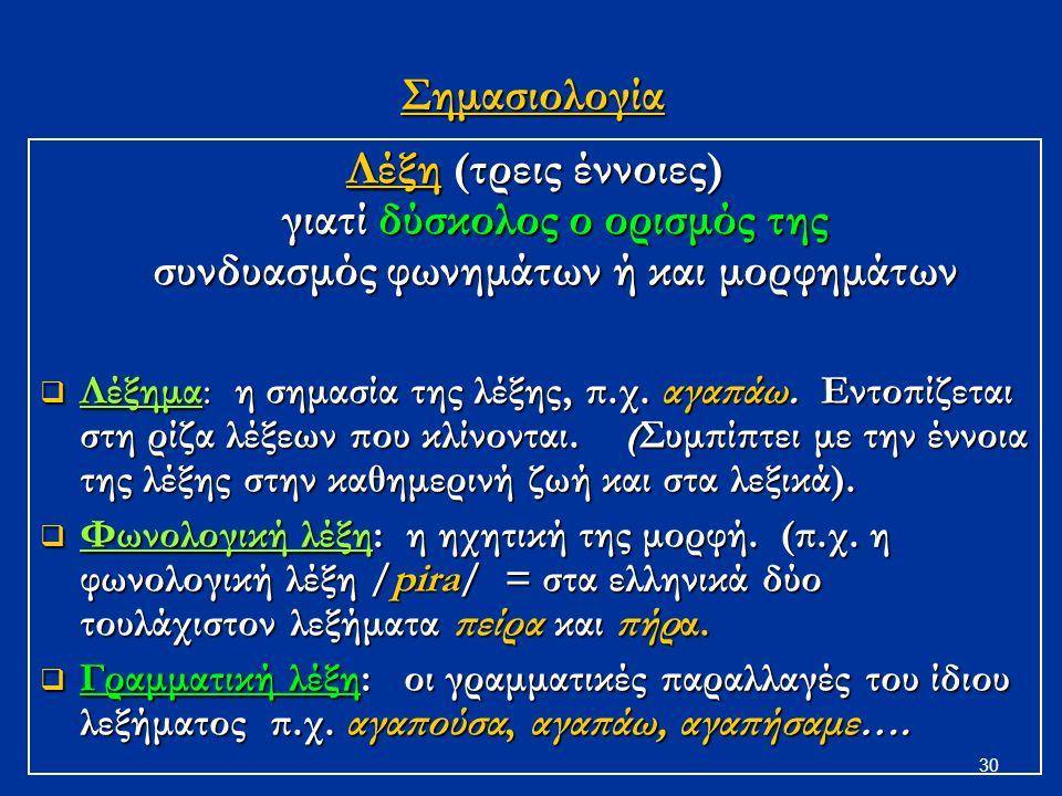 30Σημασιολογία Λέξη (τρεις έννοιες) γιατί δύσκολος ο ορισμός της συνδυασμός φωνημάτων ή και μορφημάτων  Λέξημα: η σημασία της λέξης, π.χ.