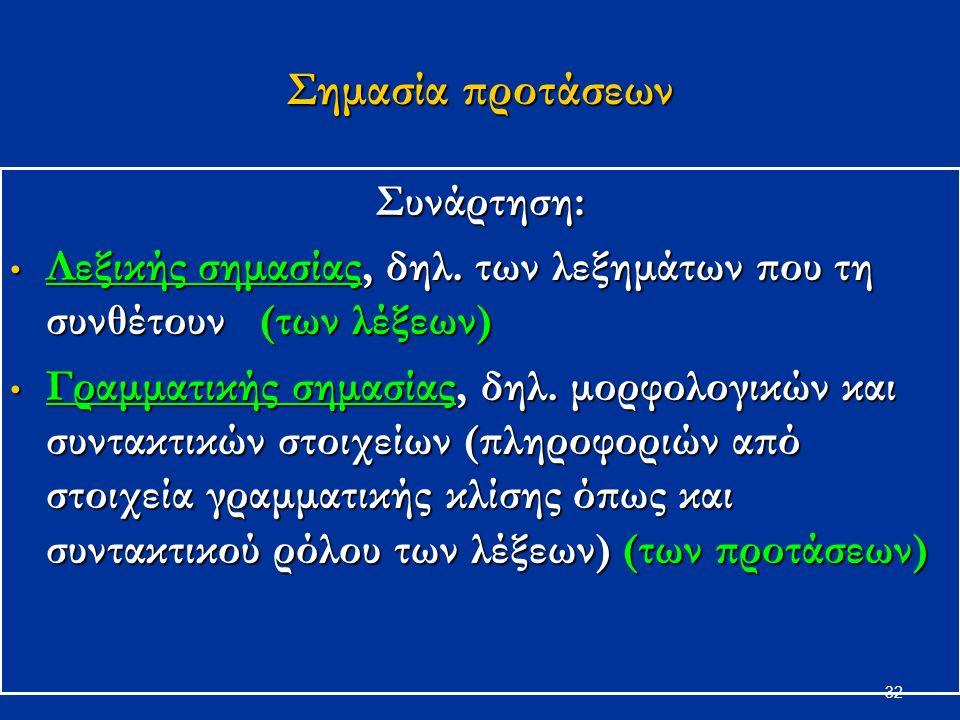 32 Σημασία προτάσεων Συνάρτηση: Λεξικής σημασίας, δηλ.