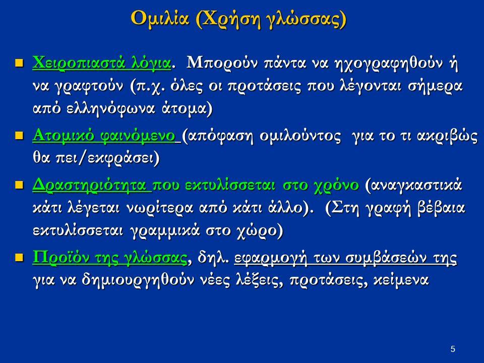 5 Ομιλία (Χρήση γλώσσας) Χειροπιαστά λόγια. Μπορούν πάντα να ηχογραφηθούν ή να γραφτούν (π.χ.