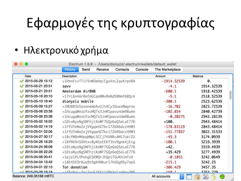 Εφαρμογές της κρυπτογραφίας Ηλεκτρονικό χρήμα