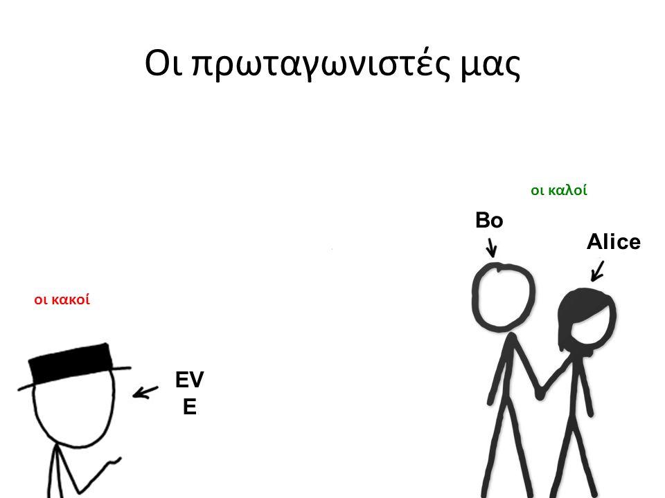 Οι πρωταγωνιστές μας Bo b Alice οι καλοί οι κακοί EV E