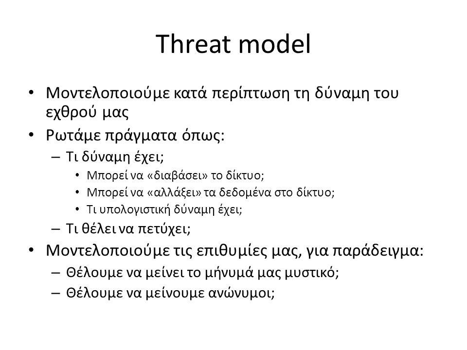Threat model Μοντελοποιούμε κατά περίπτωση τη δύναμη του εχθρού μας Ρωτάμε πράγματα όπως: – Τι δύναμη έχει; Μπορεί να «διαβάσει» το δίκτυο; Μπορεί να